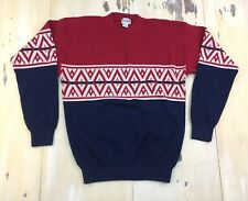 5e74a0b4 IVY CLUB - Vtg 80s Red & Navy Blue Fairisle Nordic Ski Lodge Sweater, Mens
