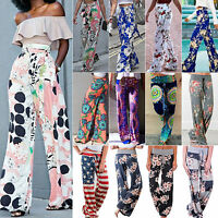 Women Floral High Waist Wide Leg Pants Boho Palazzo Hippie Flare Casual Trousers