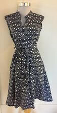 Mlle Gabrielle Vintage Inspired Sleeveless 40's Style Dress Size M Navy & White