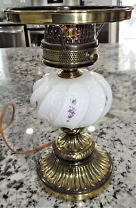 Fenton Plum Crest Lilacs & Paisley Table Student Lamp Base Purple Amethyst Vtg