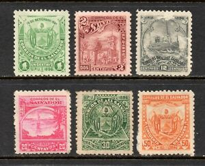 El Salvador # 157B || 157N, Unused, 1896, 6 Different Postage Stamps, Originals
