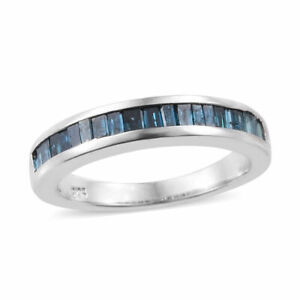SGL Certified Diamond Blue Diamond Ring in Platinum Overlay Sterling 0.50cts