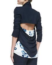 Haute Hippie Blue Open Cowl Back Silk  Blazer,jacket   size 2