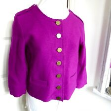 HOBBS Pure Wool Cardigan Jacket Cerise Pink 3/4 Sleeve Military Detail Size 12