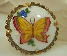 Butterfly Rhinestone Brooch 448A4 Very Pretty Vintage 1950s Guilloche