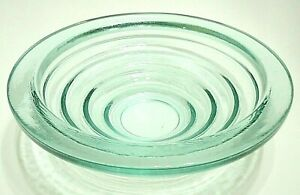 VINTAGE GLASS STEP PYRAMID BOWL PALE GREEN GEOMETRIC ART DECO DESIGN STYLE