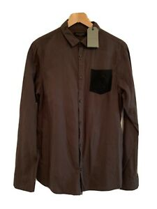 All Saints BNWT dk Brown L/ Shirt Black Suede Lambs Leather Pocket