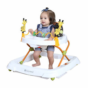 Baby Walker Foldable High Back Seat Adjustable Toddler Activity Toys Tray Play