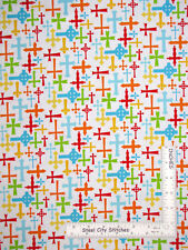 Religious Christian Cross White Cotton Fabric HG&Co Jesus Loves Me By The Yard