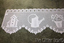 Vintage Pink Heritage Lace Curtain Valances Flowers House Shabby Cottage Chic L1