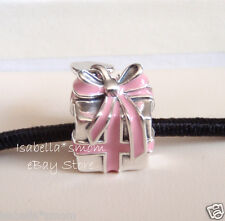 WRAPPED WITH LOVE Authentic PANDORA Silver/Pink Enamel HEART Valentine Charm/Bea