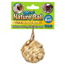 WARE NATURAL MINI NATURE BALL WITH BELL SMALL ANIMAL TOY. FREE SHIPPING IN USA