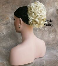 Short Light Blonde Curly Ponytail Hair Piece Claw Clip in/on Hairpiece