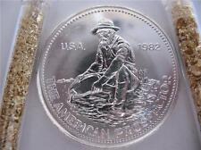 1.OZ 1982 RARE BIG E LOGO PURE .999 SILVER ENGELHARD ROUND COIN BARTER + GOLD