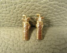 Vintage Mid Century Modern Golf Bag Yellow Gold Plated Cuff Links