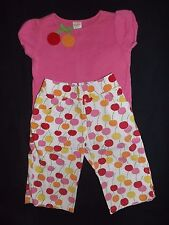 GYMBOREE Girls 2 Piece Pink Shirt and Capri Outfit Cherry Baby Line Size 3