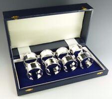 NUOVO-Argento Sterling-Set di 8 anelli di tovagliolo e Portatovagliolo-Boxed-dritto