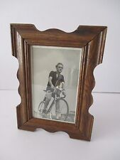 1950's OAK FRAMED PHOTO OF A RACING BIKE CYCLIST