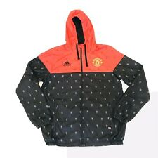 Manchester United Adidas Jacket Windbreaker Full Zip Hooded Men's Medium