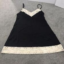 Gap Body Women's Night Gown Lingerie Sleep Black Ivory Lace Sz M Medium EUC