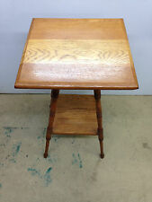 Antique Oak 2 Tier Side Table Lamp Plant Stand Parlor Turned Legs