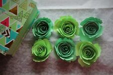 Paper flower small roses mint green color home room handmade DIY decor