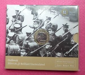 2014  ROYAL MINT  FIRST WORLD WAR 100TH ANNIVERSARY   TWO POUND COIN PACK SEALED