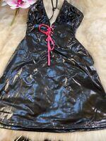 Unbranded black shiny Camisole Top sleepwear nightwear size s cup B
