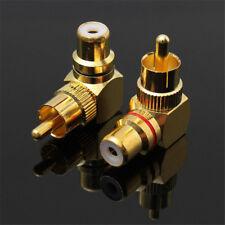 2PCS Copper 90° Right Angle AV Audio Plug RCA Adapter Male to Female Connector