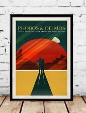 "SpaceX Mars travel poster Phobos and Deimos Giclée 16""x24"""
