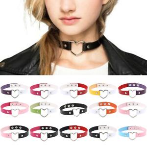 Fashion Leather Choker Necklace Women Goth Heart Chocker Gothic Punk jewelry