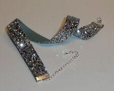 Glitzer-Halsband / Choker - silber-grob,   70th  schmal ,Glamour
