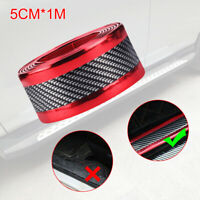 Carbon Fiber Red Car Door Sill Scuff Plate Pedal Protector Strips Accessory Top