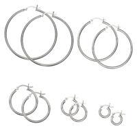 .925 Sterling Silver 1,5mm Thin Polished Hoop Earrings / Aretes de plata 925