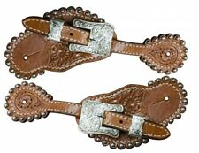 Showman Ladies Floral Tooled Leather Spur Straps w/ Engraved Buckles! HORSE TACK