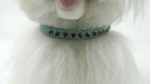 """Dog Collar- XX Small - 8"""" long - Green with Pink Stones"""