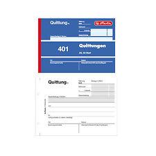 10 x Herlitz Quittungsblöcke 401 Quittung A6 1fach Block a 50 Blatt Quittungen
