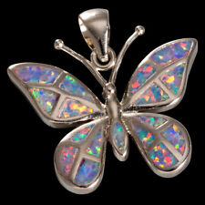 Large Butterfly Lavender Purple Fire Opal Inlay Silver Jewelry Necklace Pendant