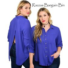 New Ladies Blue Button Up Top In Plus Size 16/2XL (1002A)NV
