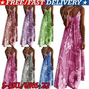 Women Summer Floral Long Dress Ladies Boho Beach Holiday Maxi Dress Size 6-22 uk