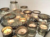 Antique Style Glass & Metal Vintage Tea Light Candle Holder Wedding Decoration