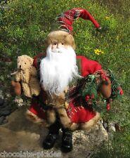 Christmas SANTA CLAUS Figurine*Teddy Bear*Red Plaid Coat*Wreath*Primitive Decor