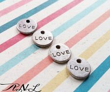 10 Word Charms LOVE Pendants Tiny Miniature Charm Set 2 Sided