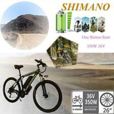 26'' 21 Speed Electric Mountain Bike Bicycle Black&Green 350W 36V Shimano USA