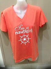 I'm A NauitiGirl  Ladies Peachy Orange Tops Size M Brand New!