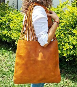 Bag Women Handbags Shoulder Fashion HANDMADE FULL GRAIN LEATHER COLOR TABACCO
