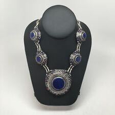 "Vintage Handmade Afghan Turkmen Round Lapis Lazuli ATS Statement Necklace 22"""