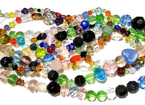 Glass Beads Bulk Lot Lampwork Faceted Bohemian Mix Jewelry Lot of 15 Strands