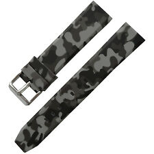 New 20mm 22mm 24mm Rubber Strap Watch Band Gray Camouflage Military Army Buckle