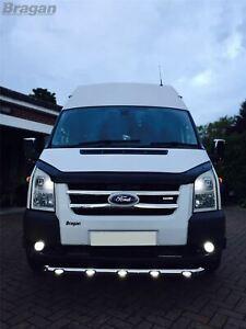 To Fit 2000 - 2006 Ford Transit MK6 Spoiler Bottom Bar Abar Nudge Bullbar + LEDs